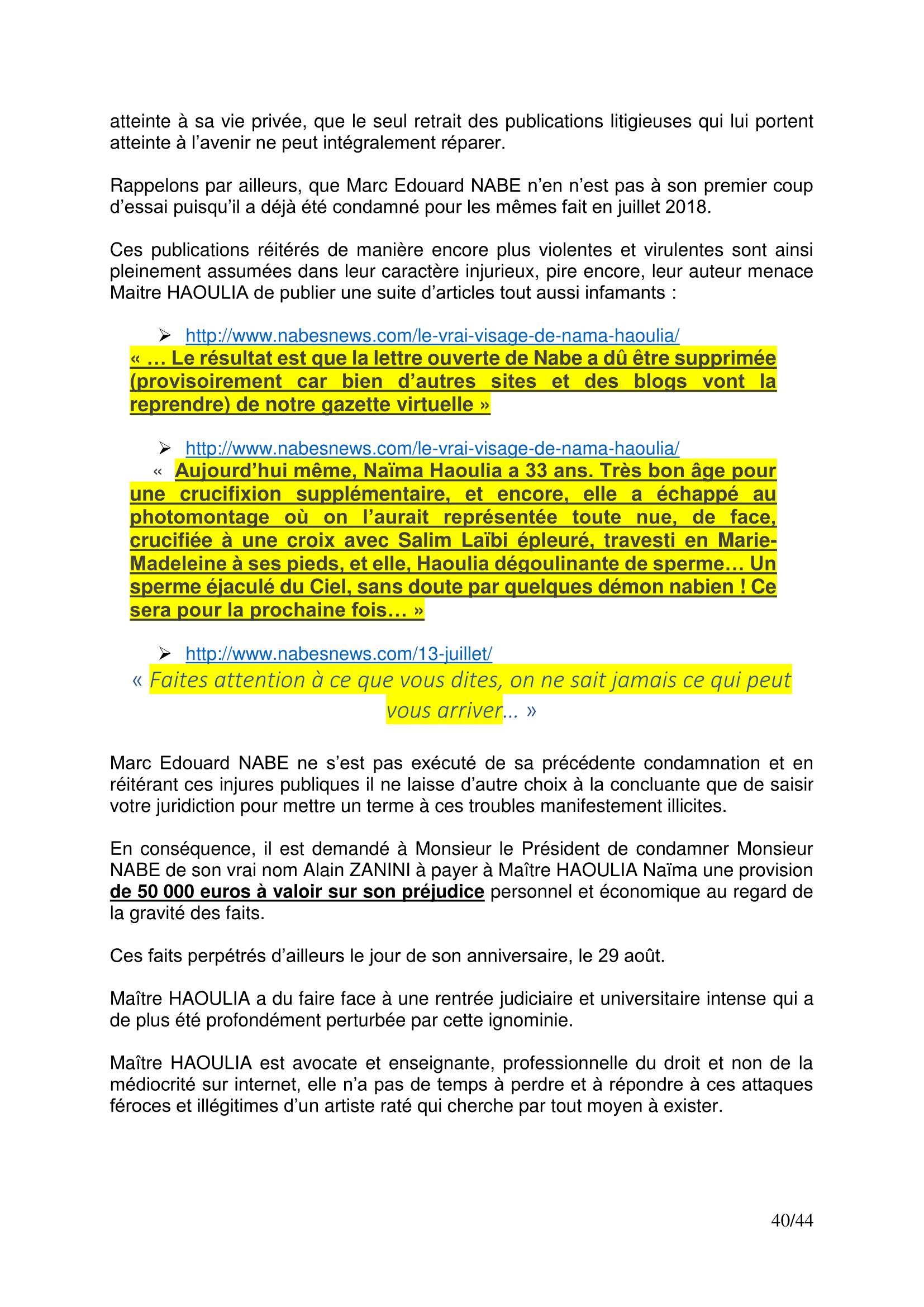 Haoulia Fait Ecrire L Assignation De Fabrice Giletta Par Salim Laibi